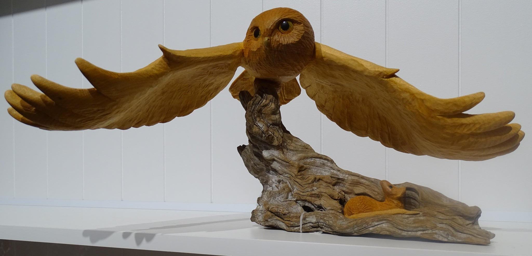 Sculpture - The Owl and the Awestruck Mouse