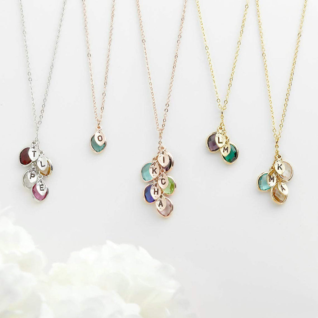 3D Laser Gifts Birthstone and Initial Necklace