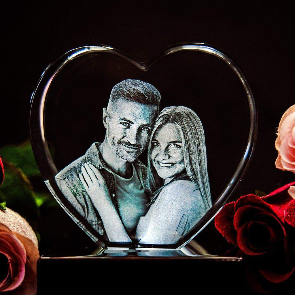 3D Laser Gifts Blog Heart Shaped Crystal Engraved Photograph Couple