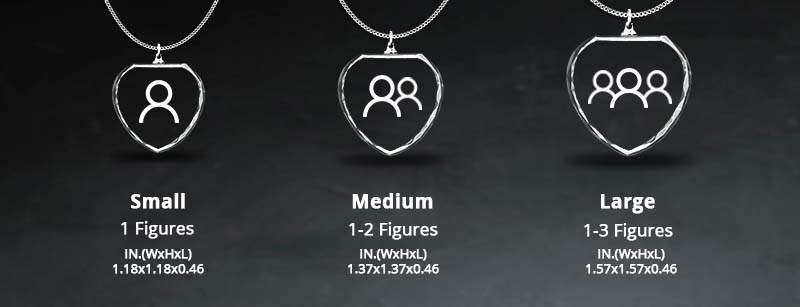 Size Chart - Crystal Rectangle Heart