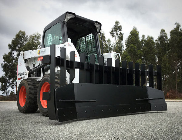 Our flagship Skid Steer Stick Rake now with levelling and dozing ability