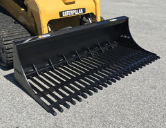 Himac Rake Bucket with Round Bars - designed for Skid Steers