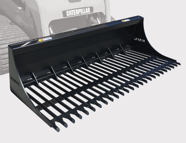 Himac Round Bar Rake Bucket with Closed Back