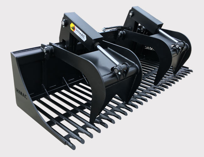 Skid Steer Rake Grapple Bucket from Himac