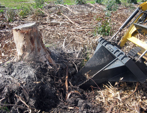 Removes tree stumps in minutes with the Himac Stump Bucket