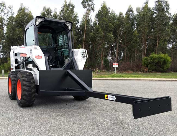 Scraper Skid Steer Attachment for effecting cleaning under conveyor belts