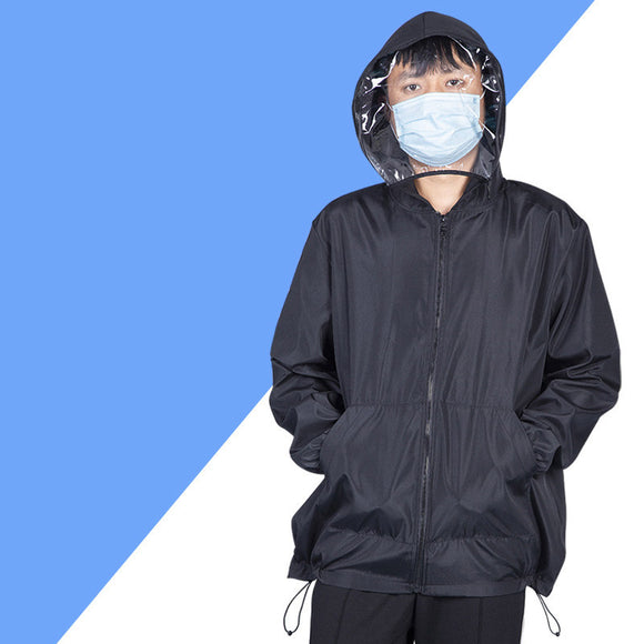 Isolation Protective Jacket with Detachable Face Shield Waterproof Personal protective clothing