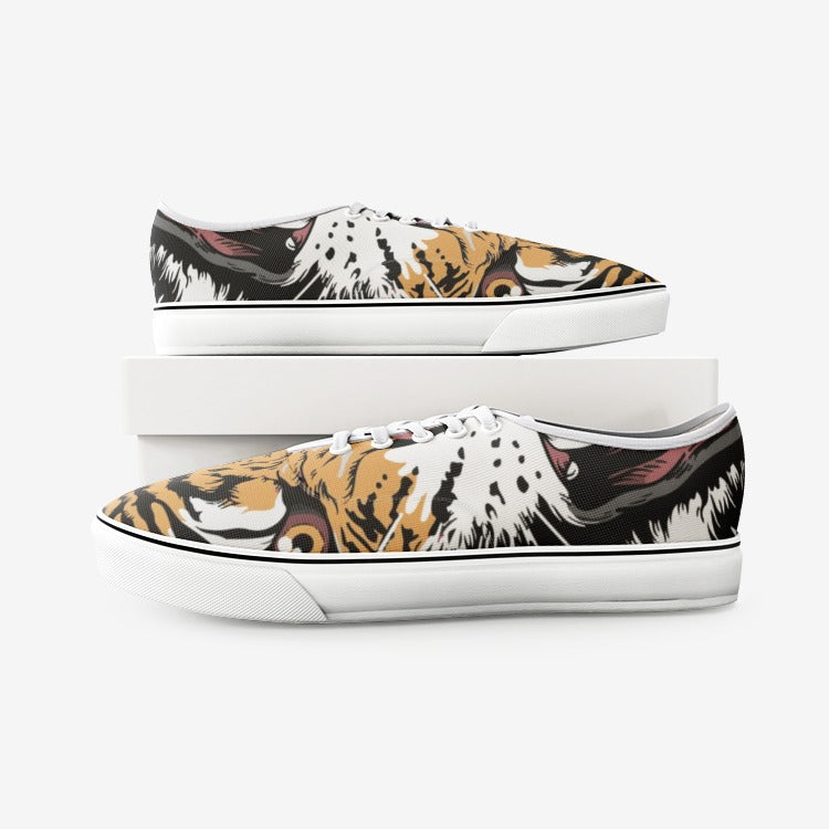 Tiger mouth canvas shoes, creative tiger shoes, tiger canvas shoes, tiger shoes,Unisex Canvas Shoes Fashion Low Cut Loafer Sneakers - Gadget.parts