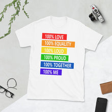 Load image into Gallery viewer, 100% love 100% loud Short-Sleeve T-Shirt,100% love t-shirt for men, 100% love for women, disco show wear t-shirt - Gadget.parts