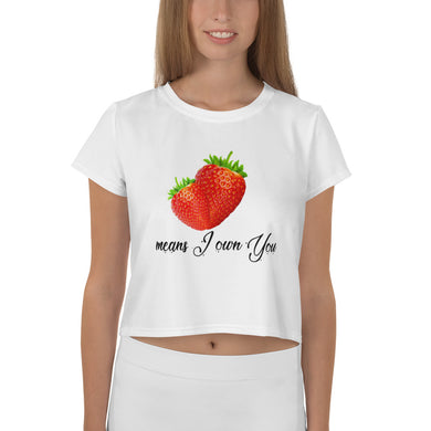 Strawberry love t-shirt,2 Strawberry means I own/love you, love theme All-Over Print Crop Tee - Gadget.parts