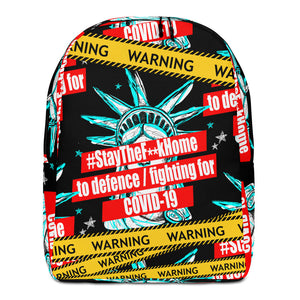 warning laptop bag, stay at home backpack,StayTheF**kHome laptop bag,Stay The F**k Home to defence / fighting for COVID-19 Minimalist Backpack - Gadget.parts