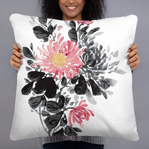 Chinese Guohua style decorative pillow, ink painting style pillow, chrysanthemum Chinese painting pillow, Chinese Guohua style Pillow - Gadget.parts