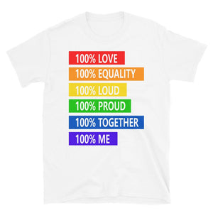 100% love 100% loud Short-Sleeve T-Shirt,100% love t-shirt for men, 100% love for women, disco show wear t-shirt - Gadget.parts