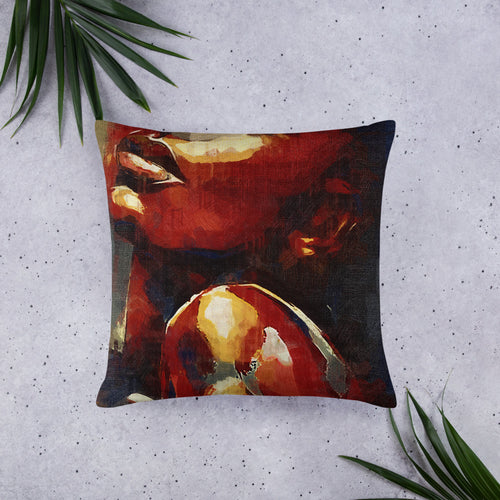 deep Colored body painted pillow, cyberpunk style pillow, cyberpunk interior design decorative pillow Basic Pillow - Gadget.parts