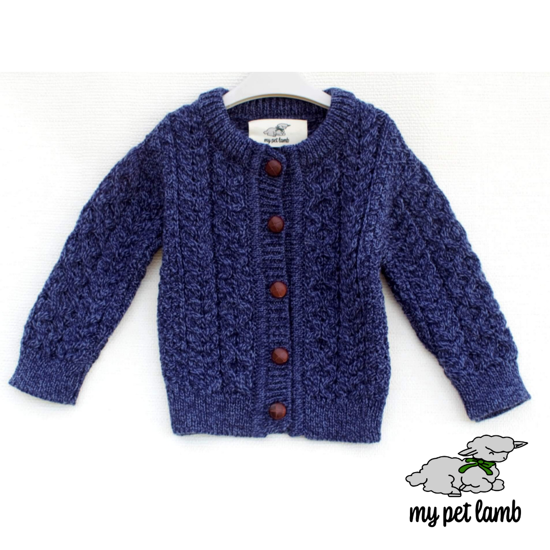 Deep Blue Aran Cardigan