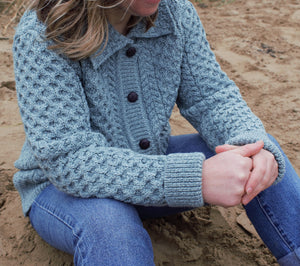 Ladies Moss Green Aran Cardigan