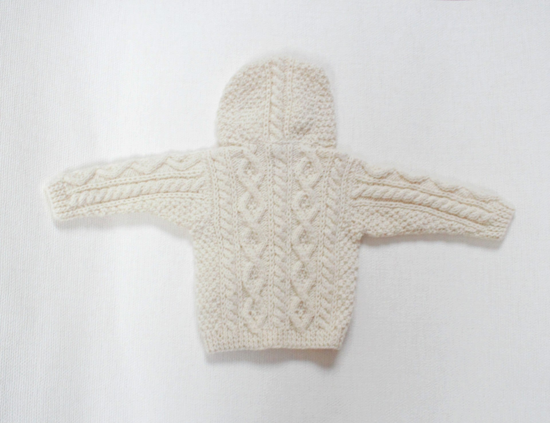 Handknit Aran Hooded Sweater