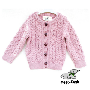 Heather Pink Aran Cardigan