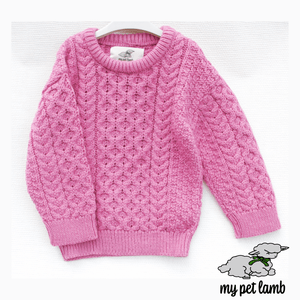 Heather Pink Aran Sweater