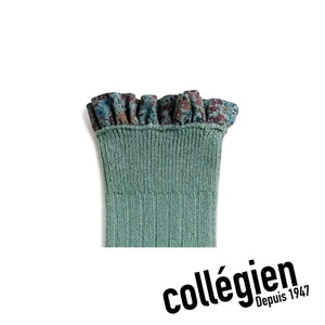 Collégien Elisabeth Liberty Print Ribbed Socks - Celadon Green