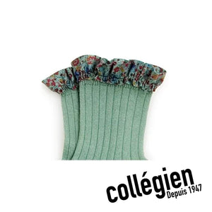 Collégien Charlotte Liberty Print Ribbed Socks - Celadon Green