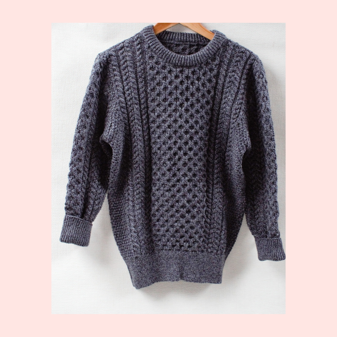 Ladies Slate Grey Aran Sweater