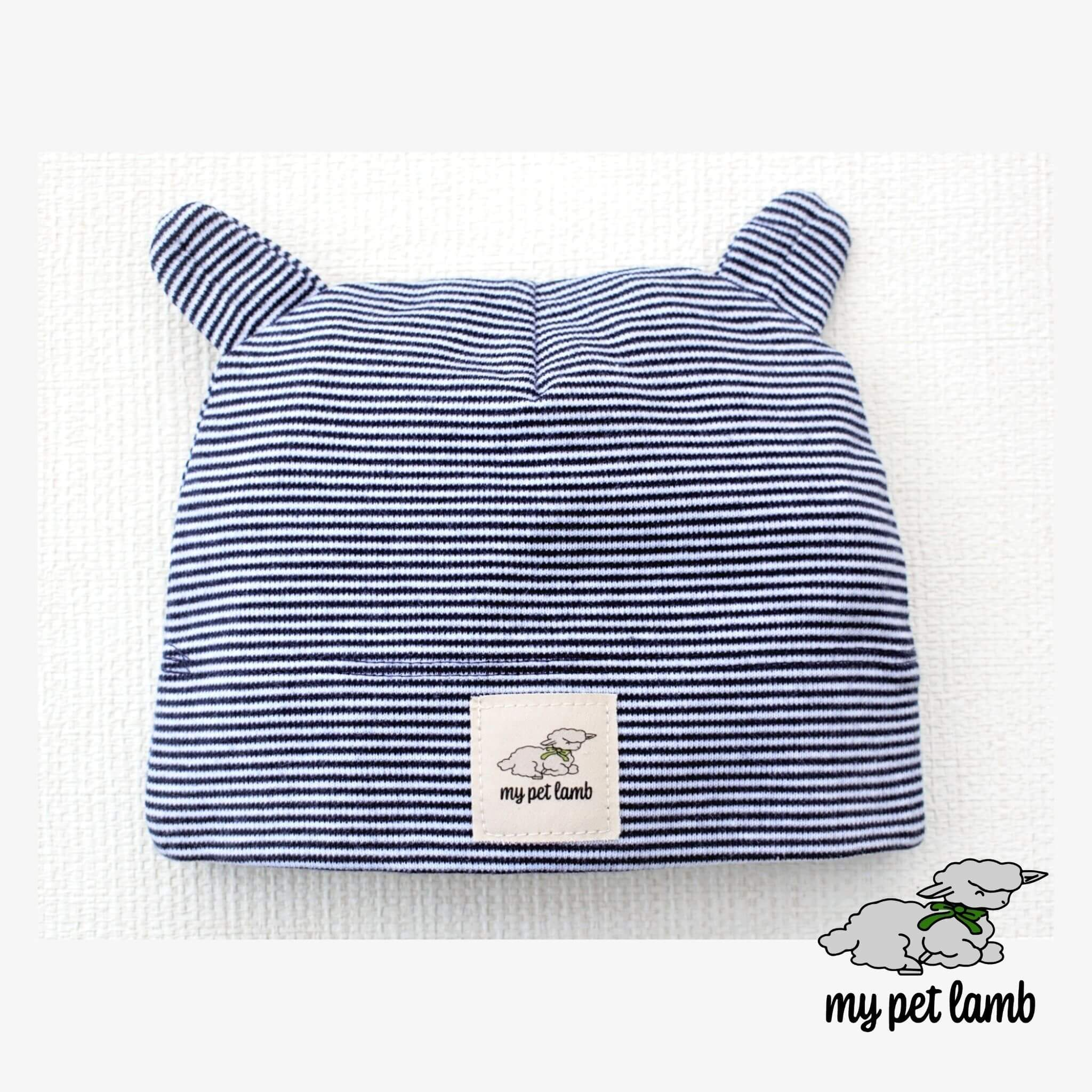 Navy Blue Cotton Stripy Hat