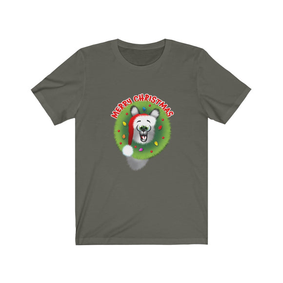 Merry Christmas Llama: Unisex Jersey Short Sleeve Tee (Cdn)