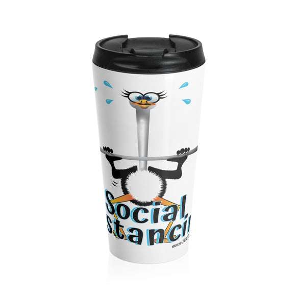 Weightlifting Ostrich - Stainless Steel Travel Mug