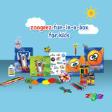 A fun activity box with illustrated story books, activity books and crafts for kids in the 4-8 age range.