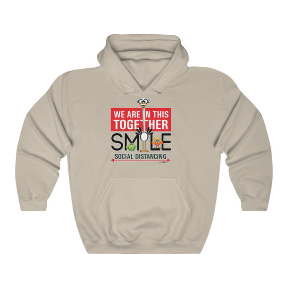 Social Distancing Smiling Ostrich - Hooded Sweatshirt