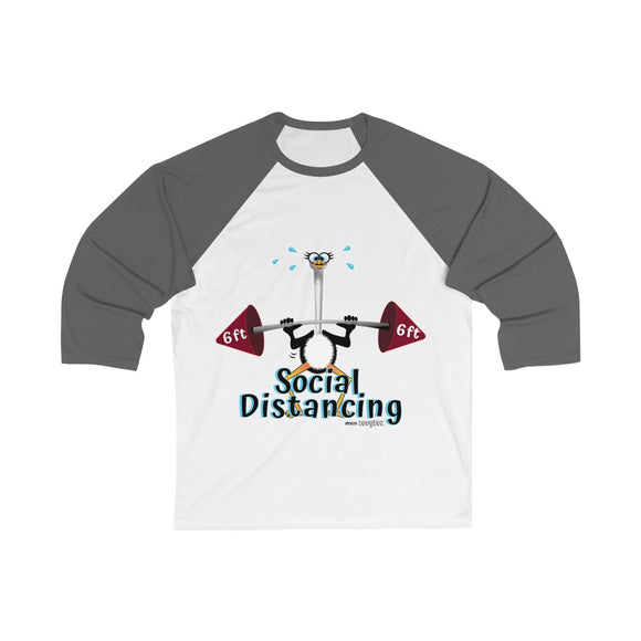 Weightlifting Ostrich - Unisex 3/4 Sleeve Baseball Tee