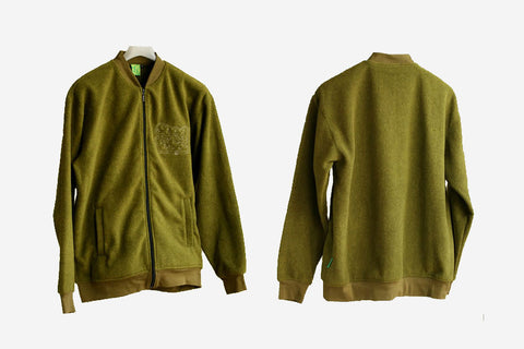 FLEECE ZIP CREW JACKET - Olive