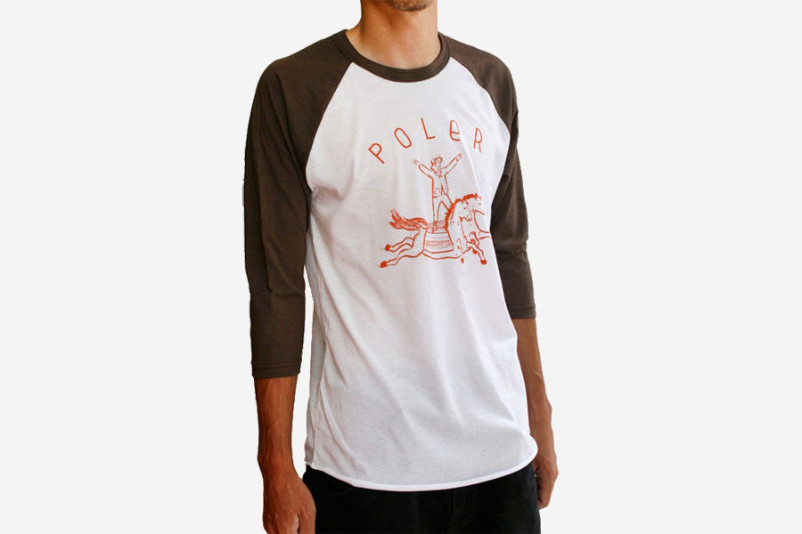 EQUESTRIAN BASEBALL TEE - White/Brown
