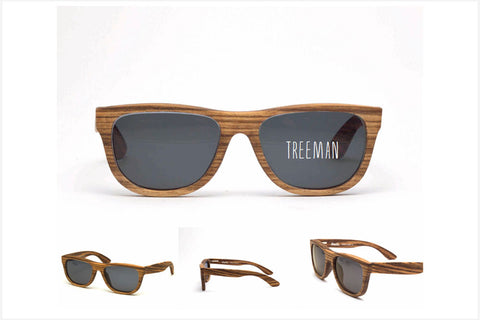 TREEMAN - Zebra Wood CR39 Black Polarized