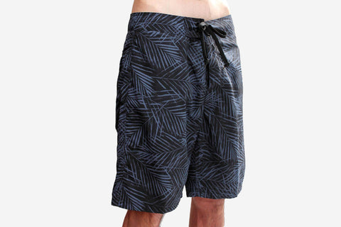 DEEP BOARD SHORTS - Palm Print Dark Blue