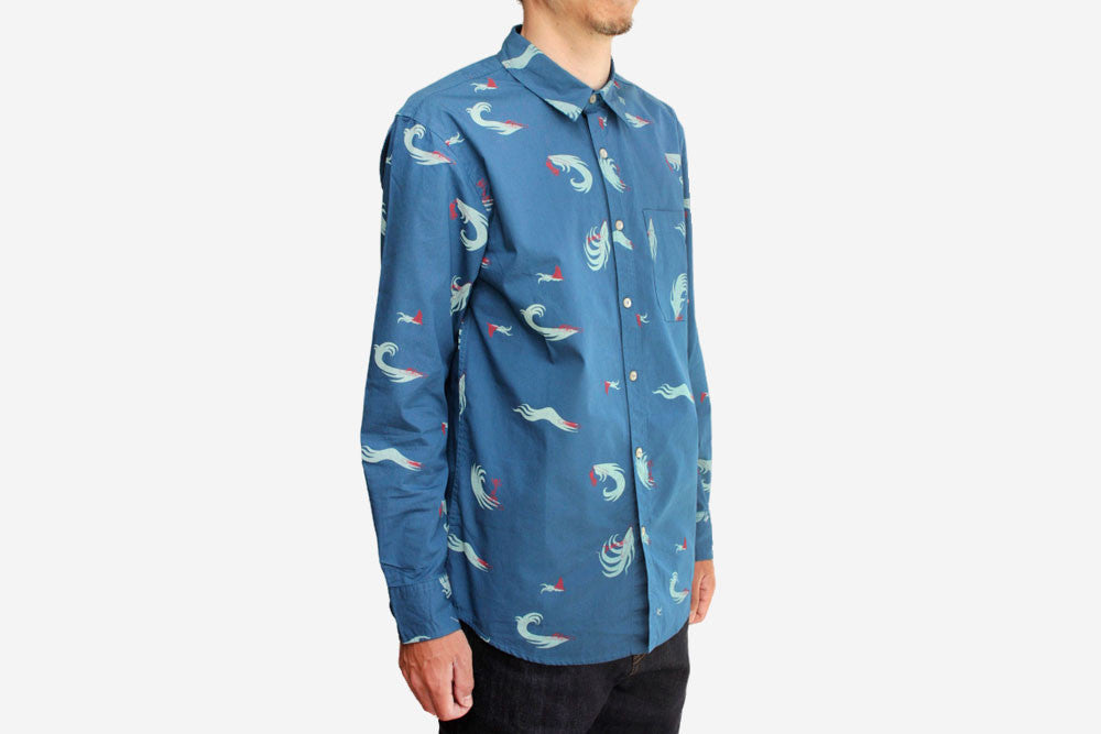 SURF PRINT LONG SLEEVE BUTTON UP - Ocean Surf Print