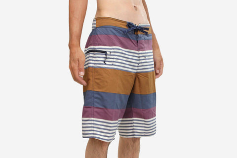 "MEN'S WAVEFARER ENGINEERED BOARD SHORTS 21"" - Fitz Stripe: Tyrian Purple"