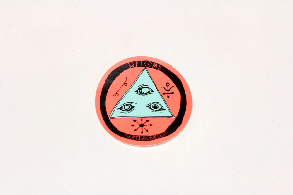 "3"" TALISMAN TRI COLOR STICKER - Black/White/Coral"