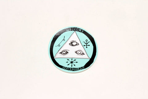 "3"" TALISMAN TRI COLOR STICKER - Black/White/Teal"