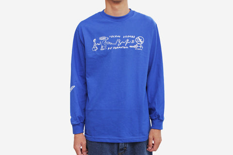 DEFORMATION L/S TEE - Royal Blue