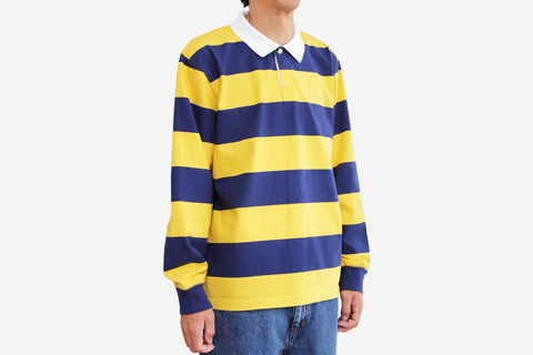 DEAR, BLOCK STRIPE POLO LONG SLEEVE - Yellow