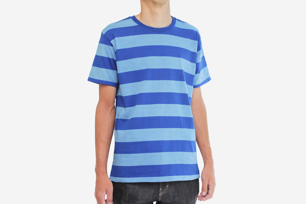 染 STRIPED T-SHIRT - Blue/Lt.Blue