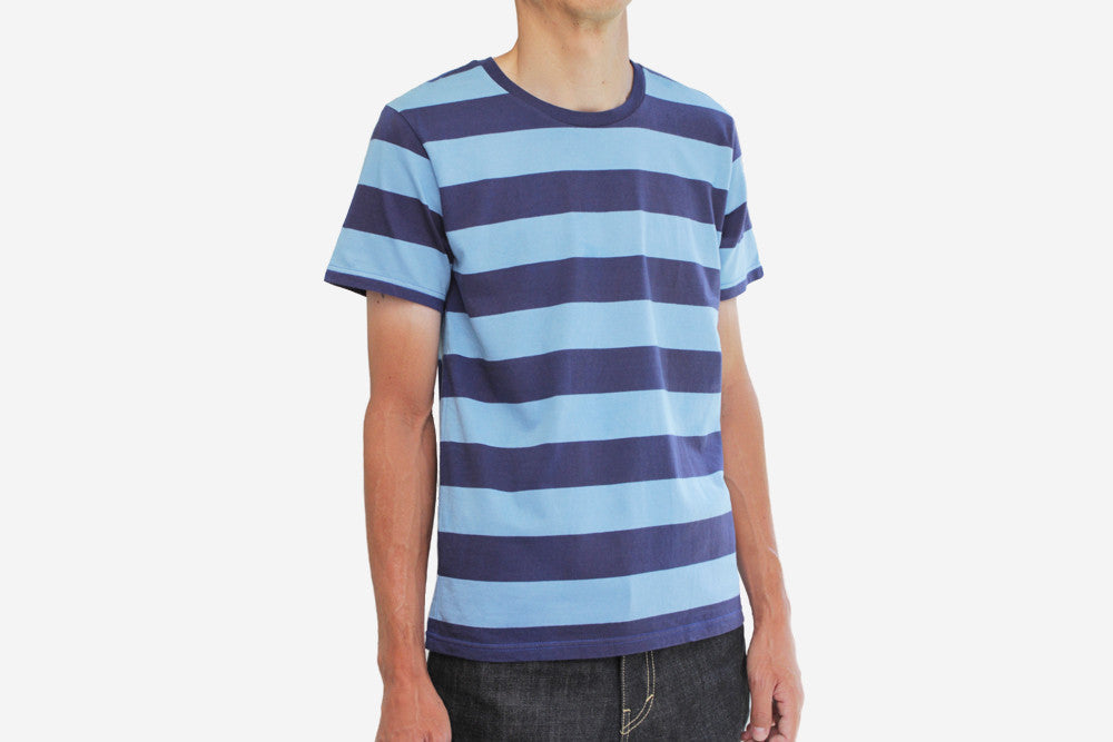 染 STRIPED T-SHIRT - Navy/Lt.Blue