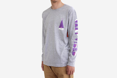 WOODCUT L/S TEE - Grey Heather