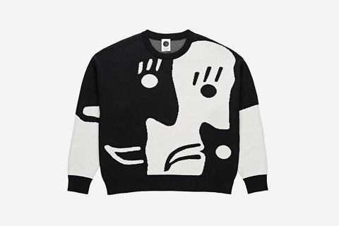 ART KNIT SWEATER - Black/White