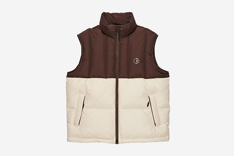 COMBO PUFFER VEST - Brown/Cream