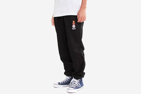 EMBROIDERED SNACKMAN SWEATPANTS - Black