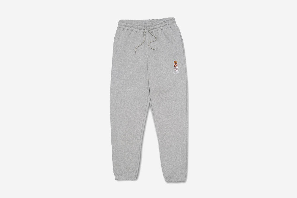 EMBROIDERED SNACKMAN SWEATPANTS - Heather Grey
