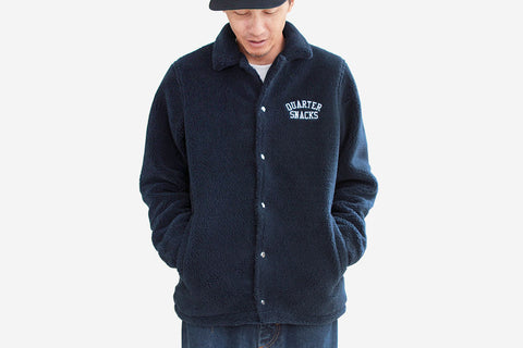 CHUNKY FLEECE COACH JACKET - Navy